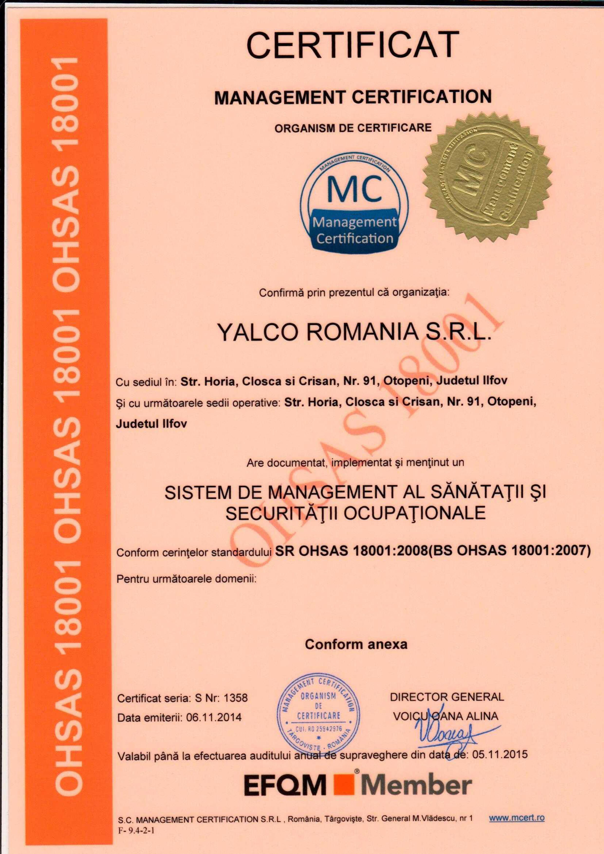 OHSAS - managementul sanatatii si securi
