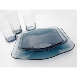 Bol salata sticla Bormioli Nettuno albastru