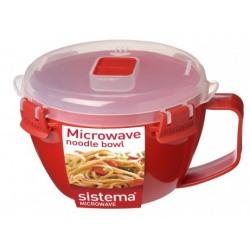 Bol din plastic cu maner si capac pentru microunde Sistema 0.94L