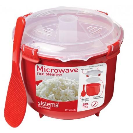 Cutie alimente din plastic cu steamer orez pentru microunde Sistema 2.6l