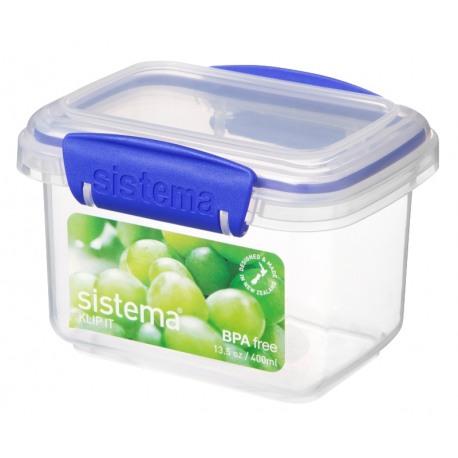 Cutie alimente din plastic dreptunghiulara cu capac Sistema KLIP IT 0.4L