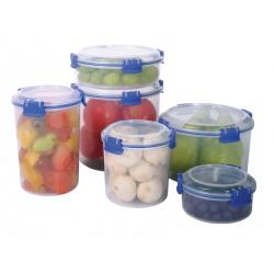 Cutie alimente din plastic rotunda inalta cu strecuratoare si capac Sistema KLIP IT 0.7L