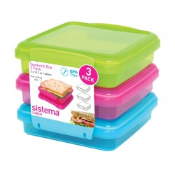 Set 3 cutii sandwich din plastic color Sistema Lunch 450 ml