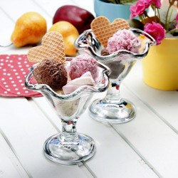 Set 2 cupe desert / inghetata sticla Bormioli Primavera 240 ml