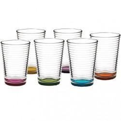 Set 6 pahare apa Pasabahce Doro culori asortate 210ml
