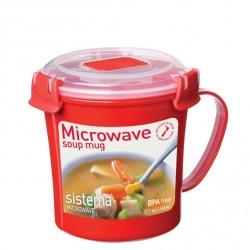 Cana din plastic cu maner si capac pentru microunde Sistema 656ml