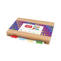 Tocator din bambus Fest cu 4 tablite plastic colorate 35x25 cm