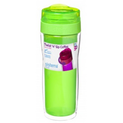 Pahar plastic pentru cafea  cu capac Sistema Twist Sip 490 ml