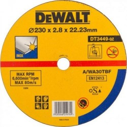 Disc plat pentru taiere inox 230x22.2 mm 2.8mm  DeWalt - DT3449