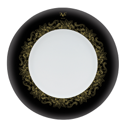 Farfurie adanca portelan Versace 19.69 Black Dahlia Rim 22.5 cm