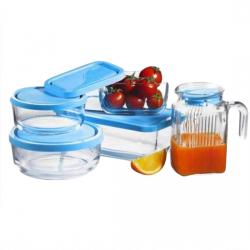 Set 4 caserole sticla cu carafa  si capac Pasabahce Polar  pentru frigider -  gift box