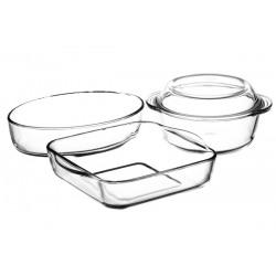 Set 3 vase termorezistente cu capac Pasabahce 1.45L