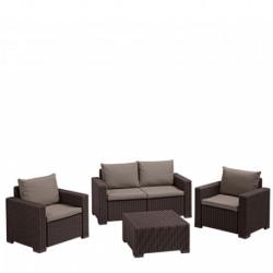 Set mobilier gradina Curver California cu canapea 2 locuri maro