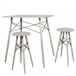 Set masa dreptunghiulara tip bar cu 2 scaune rotunde Trimar Industrial