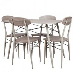 Set masa dreptunghiulara cu 4 scaune Trimar Industrial