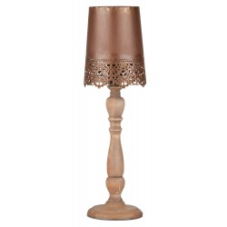 Lampadar din lemn cu abajur dantelat maro Trimar Industrial