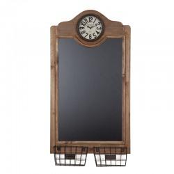Tabla decorativa din lemn cu ceas  si 2 cosulete metalice Trimar Industrial