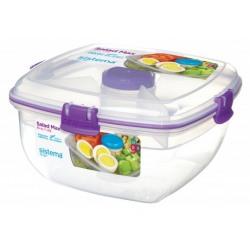 Cutie alimente din plastic patrata cu tacamuri Sistema Salad Max To Go  1.63L diverse culori