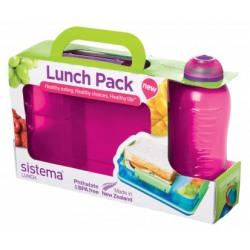 Set cutie alimente Snack Attack cu 2 compartimente 975ml  si sticla Twist'n Sip 330ml diverse culori