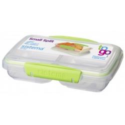 Cutie alimente plastic dreptunghiulara 2 compartimente cu capac Sistema To Go 0.35L diverse culori