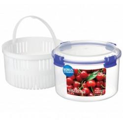 Cutie alimente plastic rotunda inalta cu strecuratoare si capac Sistema  Klip It 1.5L