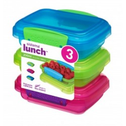 Set 3 cutii alimente plastic color Sistema Lunch 200 ml