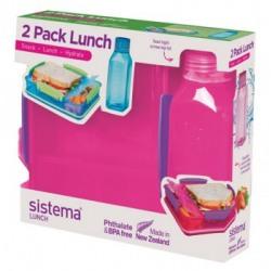 Set cutie alimente cu 2 compartimente Sistema Snack Attack 975ml si sticla Square 475ml diverse culori