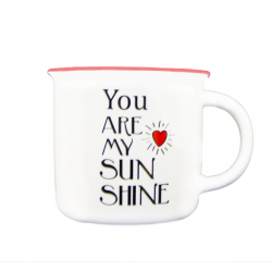Cana portelan alb You are my sun shine 340 ml