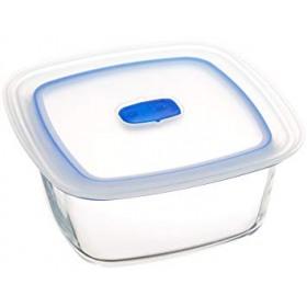 Cutie alimente patrata din sticla Bormioli Frigoverre Microwave 19 cm 1.4 L