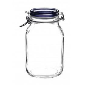 Borcan capac albastru din sticla ermetic Bormioli Fido 2 L