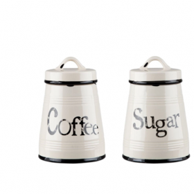 Set 2 borcane cafea si zahar albe ceramica Trimar