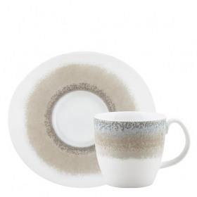 Set ceasca si farfurie portelan pentru ceai Ionia Apeiron beige 200 ml