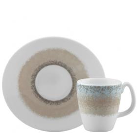 Set ceasca si farfurie portelan pentru cafea Ionia Apeiron beige 80 ml