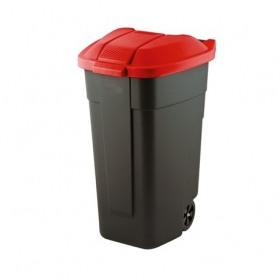 Cos pentru gunoi negru capac rosu cu roti transport Keter Refuse 110 L