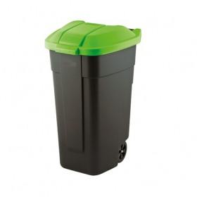 Cos pentru gunoi negru capac verde cu roti transport Keter Refuse 110 L
