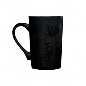 Cana din portelan neagra decor floral Yalco 385 ml