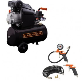 Compresor orizontal Black+Decker 24l, 1.5CP, 8bar, 160l/min + KIT 6 accesorii - BD 160/24+KIT6