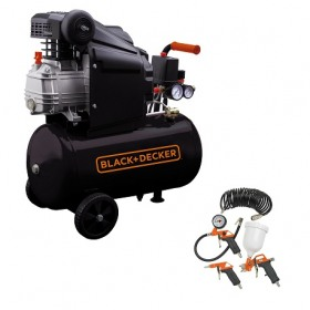 Compresor orizontal Black+Decker 24, 2CP, 8bar, 210l/min + KIT 4 accesorii – BD 205/24+9045851