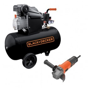 Compresor orizontal Black+Decker 50l, 2CP, 8bar, 210l/min + Polizor unghiular Black+Decker 750W...