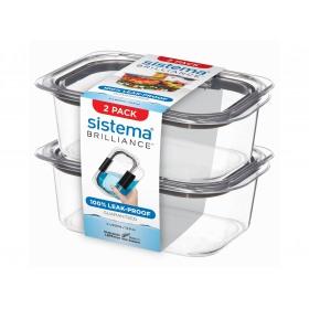 Set 2 cutii depozitare alimente Sistema Brilliance 920 ml
