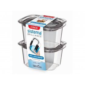 Set 2 cutii depozitare alimente Sistema Brilliance 380 ml