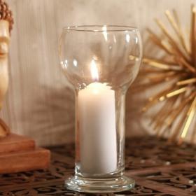 Suport lumanare sticla Bormioli Lucilla alb