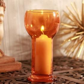 Suport lumanare sticla Bormioli Lucilla portocaliu