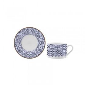 Ceasca si farfurie portelan ceai Versace 19.69 Indigo 200 ml