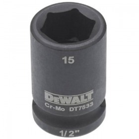 Cheie tubulara de impact 1/2 DeWalt 15 mm - DT7533
