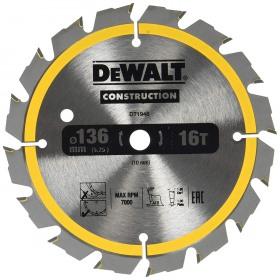 Disc pentru constructii 16dinti DeWalt 136x10mm - DT1946