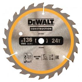 Disc pentru constructii 24dinti DeWalt 136x10mm - DT1947