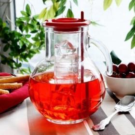 Carafa din sticla cu tub de gheata rosu Bormioli Kufra 2 L