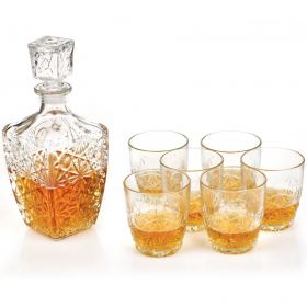 Set whisky 7 pcs Bormioli Dedalo (decantor 790 ml + 6 pahare whisky 260 ml)