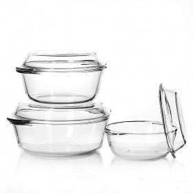 Set 3 vase sticla temperata Pasabahce Borcam 1.45L 2.175L 3.15L